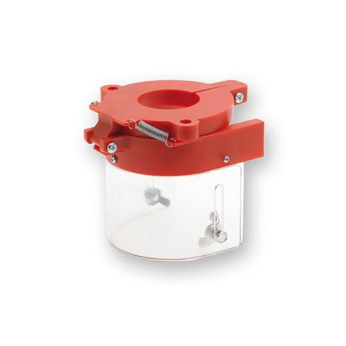 protector para taladro de banco de color rojo con visor de cristal